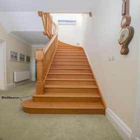 Natural Square Edge, Unfinished Smooth Stair Tread Bullnose Left Solid Red Oak Unfinished (1-1/2'' Front Lip) Stairs and Railings Treads at Steeles Flooring Brampton, Oakville, Missisauga, Toronto GTA Floor Installers.