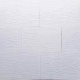 Trusa Tile & Stone White Glazed Porcelain Polished Muscle White Wall Tile 12x24