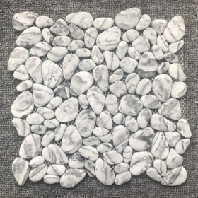 kitchen or bathroom Gray, White Casa Roma Shapes Pebble Mosaic Tundra  Polished Backsplash Tile  With Installation In Toronto (GTA), Brampton, Missisauga, Oakville, Vaughan and Ottawa